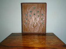 Arts & Crafts Copper and Enamel  Blotter/Stationery Folder with Peacock Design.