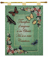Graceful Flight ~ Spring Butterfly Tapestry Wall Hanging w/Inspirational Verse
