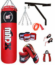 Madx 10Pc 4ft Boxe Rempli Lourd Sac Frappe Pro Lot, Mural Support, Gant, MMA