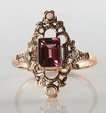 DIVINE 9CT ROSE GOLD PINK TOURMALINE & OPAL LONG FINGER RING FREE RESIZE