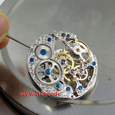 17 Jewels silver Full Skeleton 6497 Hand Winding movement fit parnis watch M5