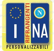 ADESIVI BLU RIFRANGENTE PER TARGA AUTO EUROPEA CON BANDIERA E PROVINCIA NAPOLI