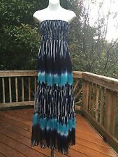 New_Boho Strapless Smocked Printed Chiffon Tiered Maxi Dress_Sizes S, M, L