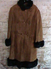 Women's Brown Suede Button Leather Jacket