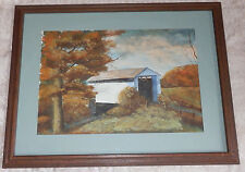 Vtg Joseph Baris Watercolor Painting White Covered Bridge Cincinnati Artist