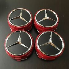 MERCEDES (SET OF 4) 75mm RED CHROME STAR RAISED WHEEL CENTER CAPS WC4PC513 MB2