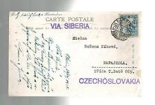 1938 Harbin Manchuria China Russian Church Postcard Cover to Czechoslovakia