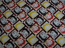 2.6 Yards Quilt Cotton Fabric- Camelot Betty Boop Red/Yellow/Black/Whte Diamonds