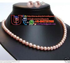 Pink Pearl Necklace set Rounded Cultured Big fresh water Pearls Fashion jewelry