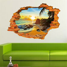 3D Beach Window View Mural Removable Wall Sticker Art Decal Home Bedroom SK