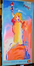 PETER MAX POSTER -LADY LIBERTY BLUE-MULTI COLORED- FACSIMILE SIGNED- COLORFUL