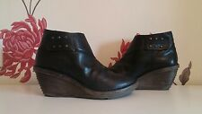 FLY LONDON BLACK LEATHER LADIES ANKLE WEDGE BOOTS SIZE 5 UK 38 EU
