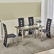 5 Piece Dining Table Set Black Gl 4 Chairs Seats Dinette Kitchen Home Decor