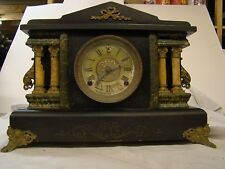 Vintage Sessions Green Marblized Four Column Mantel Clock W Chime