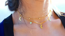 Two Layers Chain Star & Moon Charms Choker Necklace Fashion Jewelry Women's Gift