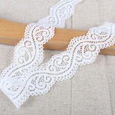 EL7- 3m x 43mm IVORY WHITE Vintage ELASTIC Lace Bridal Wedding Trim Ribbon CRAFT