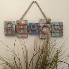 BEACH WALL HANGING SIGN DISTRESSED SHABBY CHIC TROPICAL COASTAL DECOR