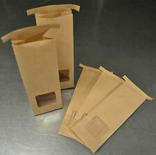 50 Kraft Tin Tie Food Bags with Window Paper Bag Brown Clear Seal Sealing