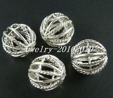 12pcs Tibetan Silver Round Hollow Ball Spacers 18mm 12697