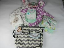LOT of 7 Infant Baby Clothing & Accessoires:Diaper Bag, Swaddle me NEW