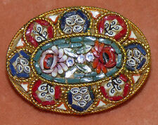 Vintage Italy Micro Mosaic Oval Brooch Pin Floral Rose Red Blue Gold Italian