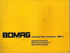 BOMAG  BVP 11 VIBRATING PLATE COMPACTOR OPERATOR'S MAINTENANCE PARTS  MANUAL