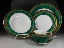 CHRISTIAN DIOR GAUDRON MALACHITE GREEN 5 piece PLACE SETTINGS - PERFECT!