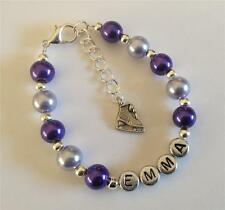 Girls personalised ice skateing charm bracelet - any name and colour - jewellery