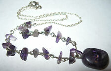 Pretty Vintage Natural Amethyst Stone Rock Crystal Bead Wired Drop Necklace