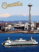 Seattle Washington Ferry Space Needle United States Travel Advertisement Poster