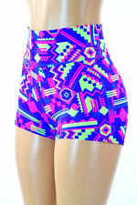 LARGE High Waist Neon Colors Aztec Rave Festival Party Shorts Ready To Ship!