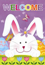 "Welcome Bunny Easter Garden Flag Tulips Easter Eggs 12.5"" x 18"" Briarwood Lane"