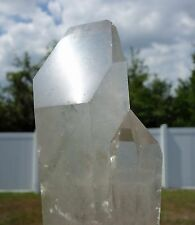 Big LEMURIAN SEED Quartz Crystal SHOVELHEAD POINT Wand Green Chlorite Phantom