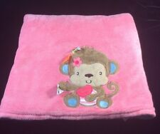 Taggies Pink Blue Monkey Baby Blanket Velour Turquoise  Heart Flower