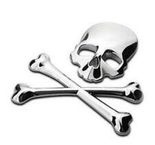 3D Auto Aufkleber Car Sticker Scull&Bones Silber aus Metal vielseitig verwendbar