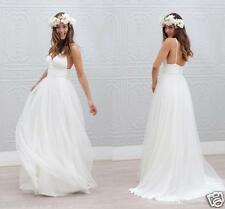 Sexy V Neck Beach Wedding Dress Bridal Gown Custom Size 4 6 8 10 12 14 16 18+++