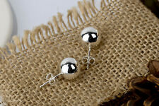 6MM sterling silver Plain Polish ball Paris stud earring Solid 925 Jewelry