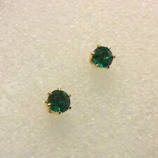 T27 4mm green emerald stud earrings, 18k yellow gold filled, Plum UK, GIFT BOXED