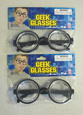 2 PAIR KIDS BLACK NERD GLASSES THICK LENS GEEK SHADES COSTUME COKE BOTTLE FRAMES