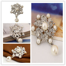 1Pc Para Novia Plata Perlas Cristal Broches Broche Ramillete Diamante Pin P`