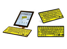 Large Print Black on Yellow Bluetooth Mini Keyboard for iPads, Tablets & Phones