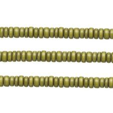 Wood Rondelle Beads Light Forest Green 8x4mm 16 Inch Strand