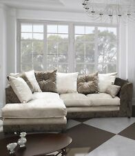 New  Bella Crushed Velvet FABRIC CORNER SOFA Suite, Brown+Mink. L/R Hand Facing