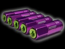 20PC 12X1.5MM 60MM EXTENDED ALUMINUM TUNER RACING CAPPED LUG NUT PURPLE/GREEN C