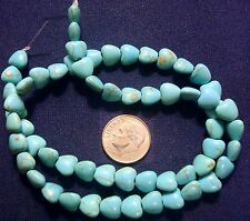 56 Treated magnesite created turquoise 8x8mm heart shaped  beads 16 in bs053