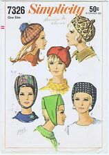 Hats Fabric Sewing Pattern Simplicity # 7326 Millinery Cap Cancer Chemo Alopecia