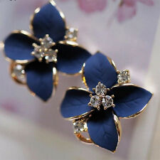 Wonderful Lady Girls Blue Flower Charm Crystal Ear Stud Earrings korean style vh
