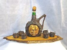 Rare Vintage Bavarian Bark Bottle Liquor Decanter with 6 Shot Glasses set
