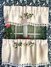 DOLLHOUSE MINIATURE  EBELLISHED BEIGE WINDOW CURTAINS