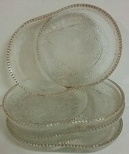 Jeannette Glass Harp Pattern Coasters / Ashtrays Teacup Bag Holders Gold Trimmed